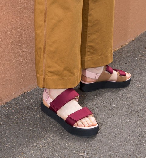 RISE VEGAN VELCRO WEDGE-PINK/BURGUNDY - LAST PAIR!