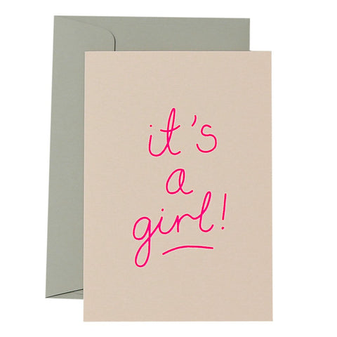 IT'S A GIRL - NEON ON BLUSH - CARD