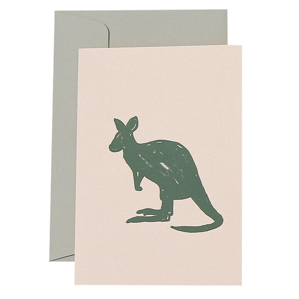 CARD - GRADIENT KANGAROO - OLIVE ON BLUSH