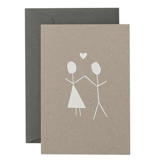 GIRL BOY HEART - WHITE ON NATURAL - CARD
