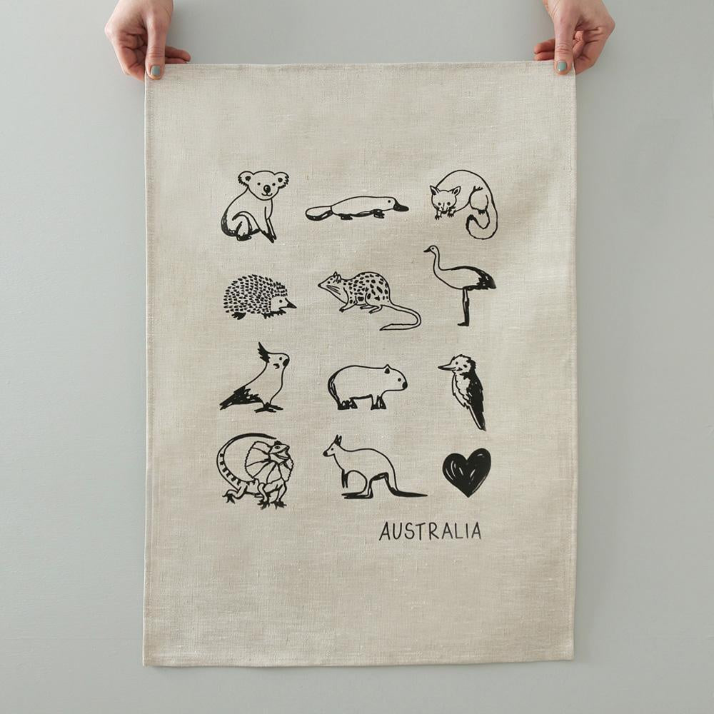 TEA TOWEL  - AUSTRALIAN ANIMALS - NATURAL LINEN