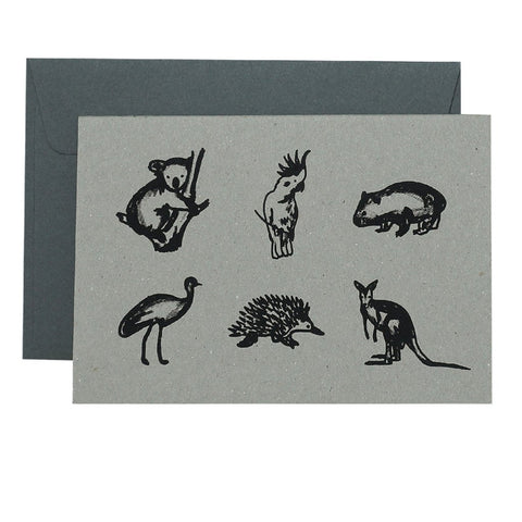 GRADIENT AUSTRALIAN ANIMALS - BLACK ON NATURAL - CARD