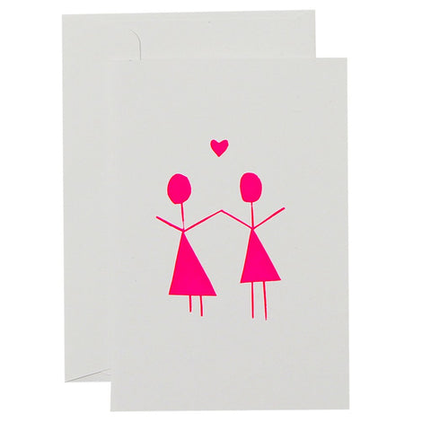 GIRL GIRL HEART  - NEON PINK ON WHITE - CARD