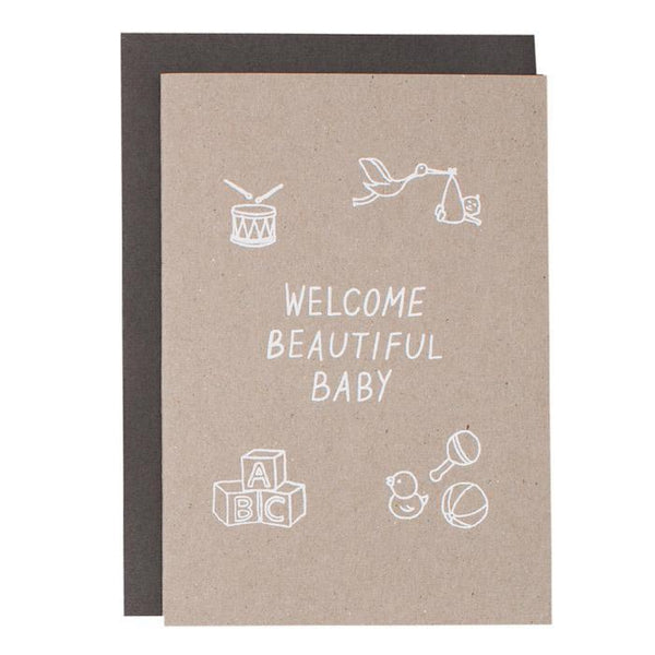 A5 CARD - WELCOME BABY - WHITE ON KRAFT