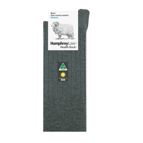 WOOL HEALTH SOCK, NO ELASTIC - ASSORTED COLOURS