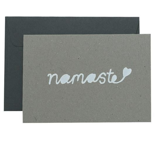 NAMASTE -  WHITE ON NATURAL - CARD