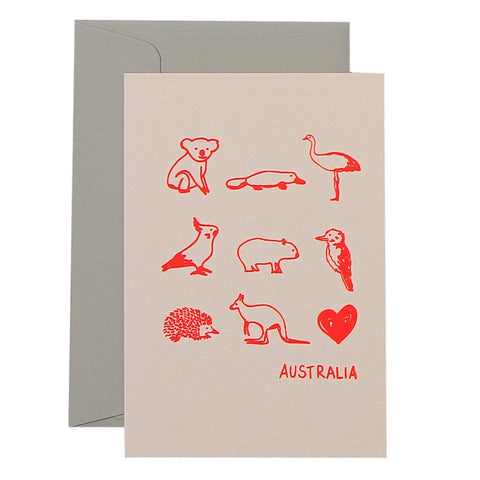 AUSTRALIAN ANIMALS - NEON CORAL ON BLUSH