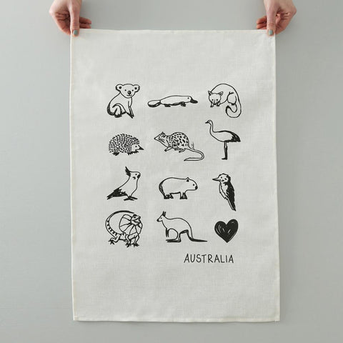 TEA TOWEL - AUSTRALIAN ANIMALS - WHITE LINEN