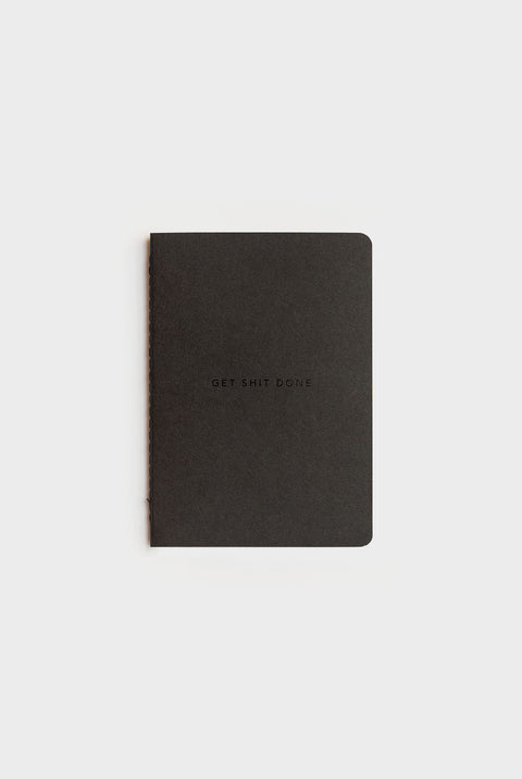 GET SHIT DONE NOTEBOOK-A6-GRID-SOFT COVER-MINIMAL BLACK & BLACK