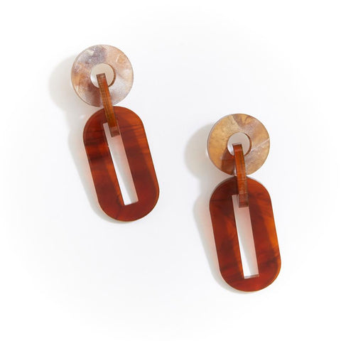 JIGSAW EARRINGS - TORTOISE SHELL
