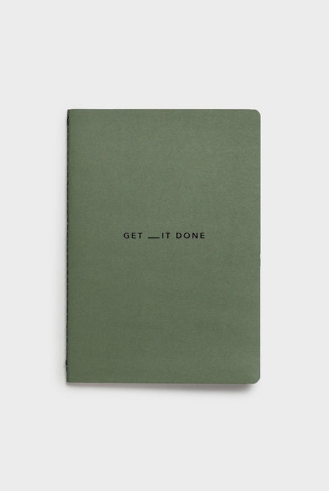 GET __IT DONE NOTEBOOK-A5-SOFT COVER MINIMAL KHAKI & BLACK