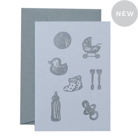 BABY STUFF - SILVER ON WHITE - CARD