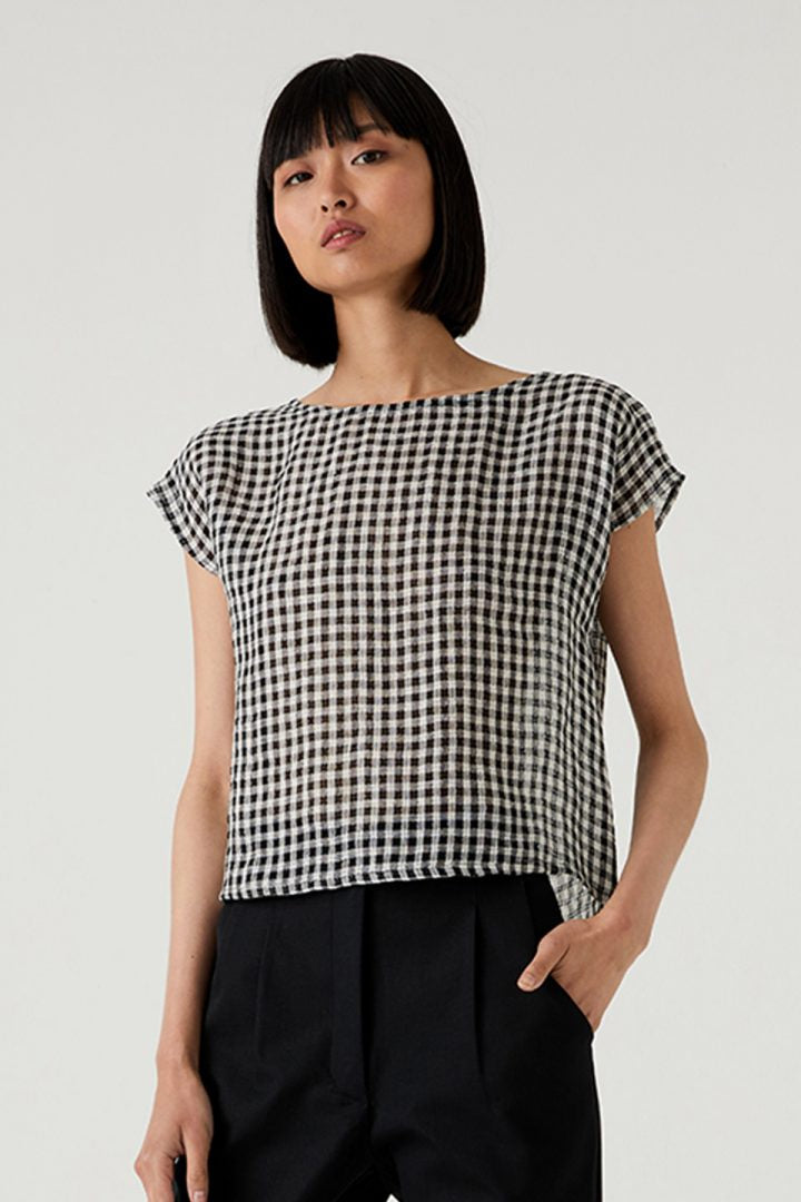 SHELL TOP - BLACK AND WHITE GINGHAM