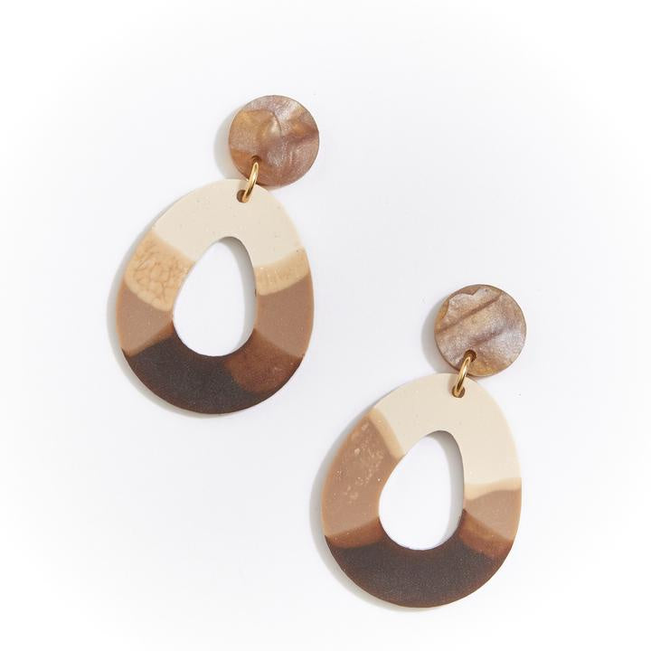 TEARDROP EARRINGS - COFFEE
