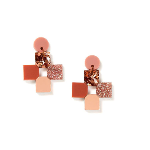 CROSS EARRINGS - BLUSH