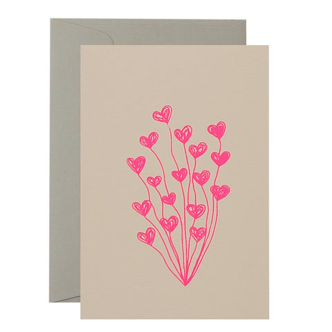 CARD - HEART BALLOONS - NEON PINK ON BLUSH