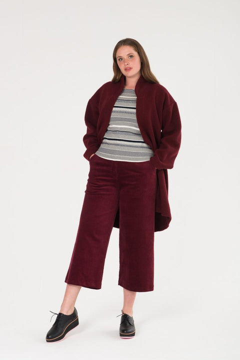 WIDE LEG TAILORED CORDUROY PANT PLUM