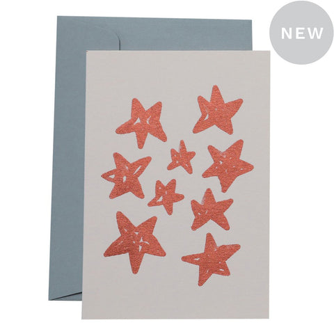 CHRISTMAS STARS - COPPER ON BLUSH - CARD