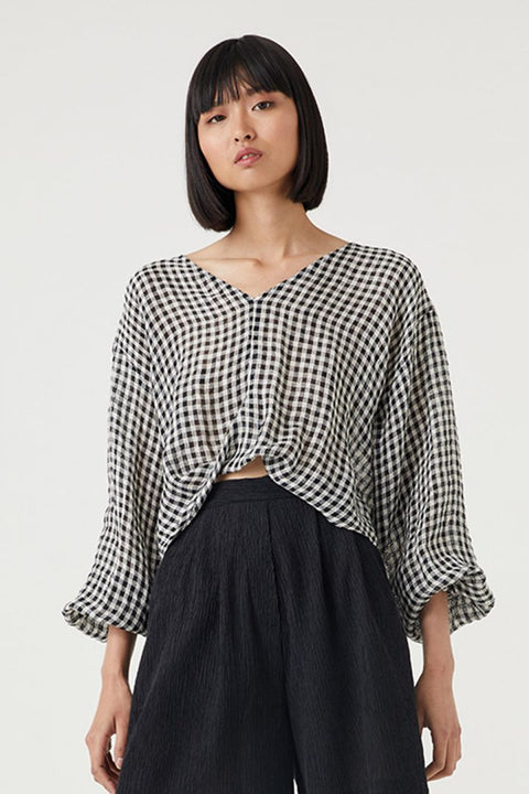ORCHIS TOP - B&W GINGHAM
