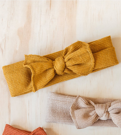 LITTLE BOW HEADBAND - MUSTARD
