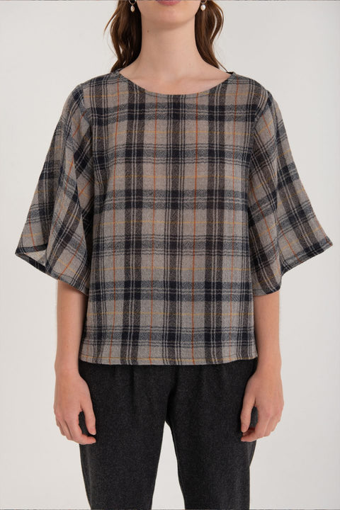 KUWAII OBSCURA TOP - CHARCOAL CHECK AW20