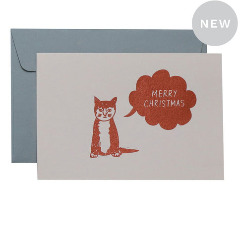SOLO CAT CHRISTMAS - COPPER ON BLUSH - CARD