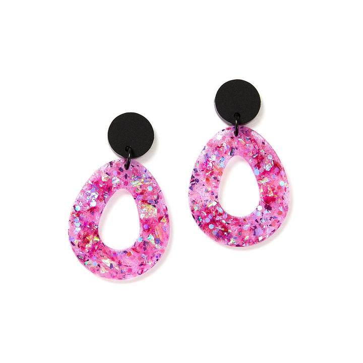 TEARDROP EARRINGS - GLITTER MAUVE