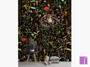 Aquafleur anthracite floral wallpaper