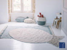 Washable Blue Fish Rug