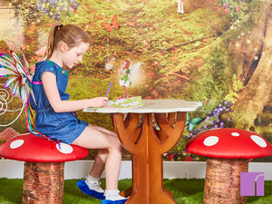 Toadstools and table