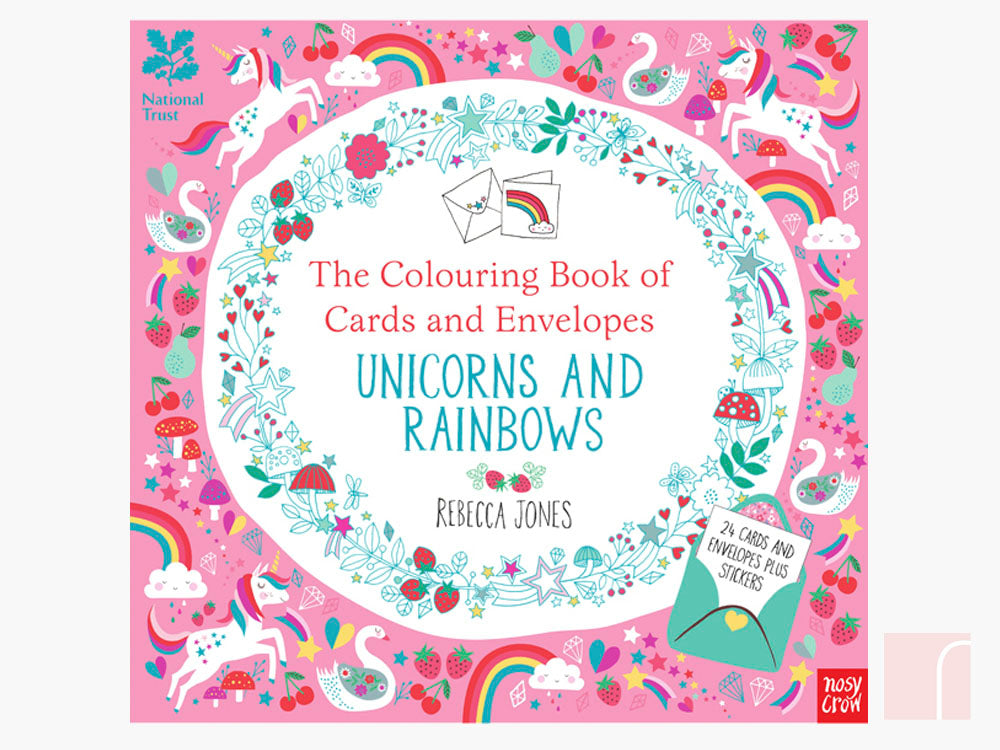 COLOURING BOOK OF CARDS AND ENVELOPES: UNICORNS AND RAINBOWS
