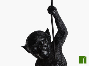 Darwin-Black-Monkey-Pendant-Light-Close-Up-On-White