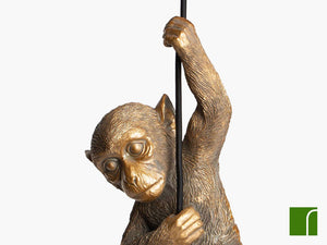 Darwin-Gold-Monkey-Pendant-Light-Close-up-On-White