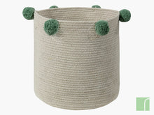 Green / Natural Pom Pom Storage Basket