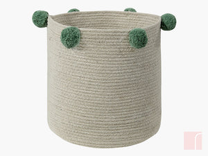 Lorena Canals Green Pom Pom Storage Basket