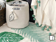Lorena Canals Leaf Basket, rug and blanket green