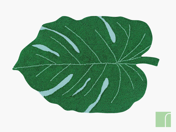 Monsterra Green Leaf Washable Rug