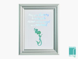 'May Your Dreams' Holographic Mermaid Framed Print