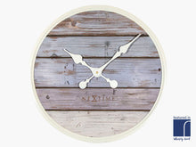 Grey and Blue Plank Clock