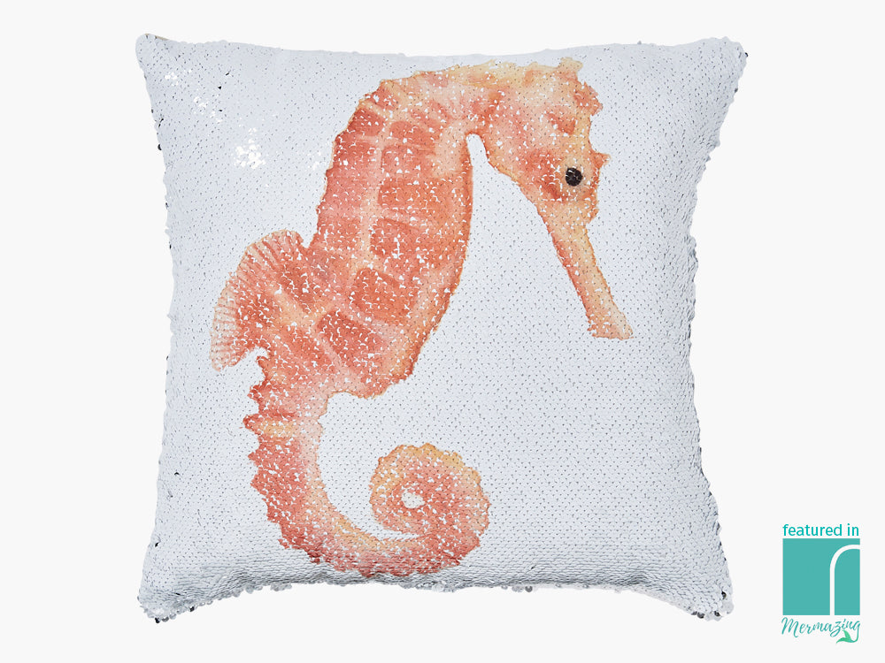 Sequinned Seahorse Cushion