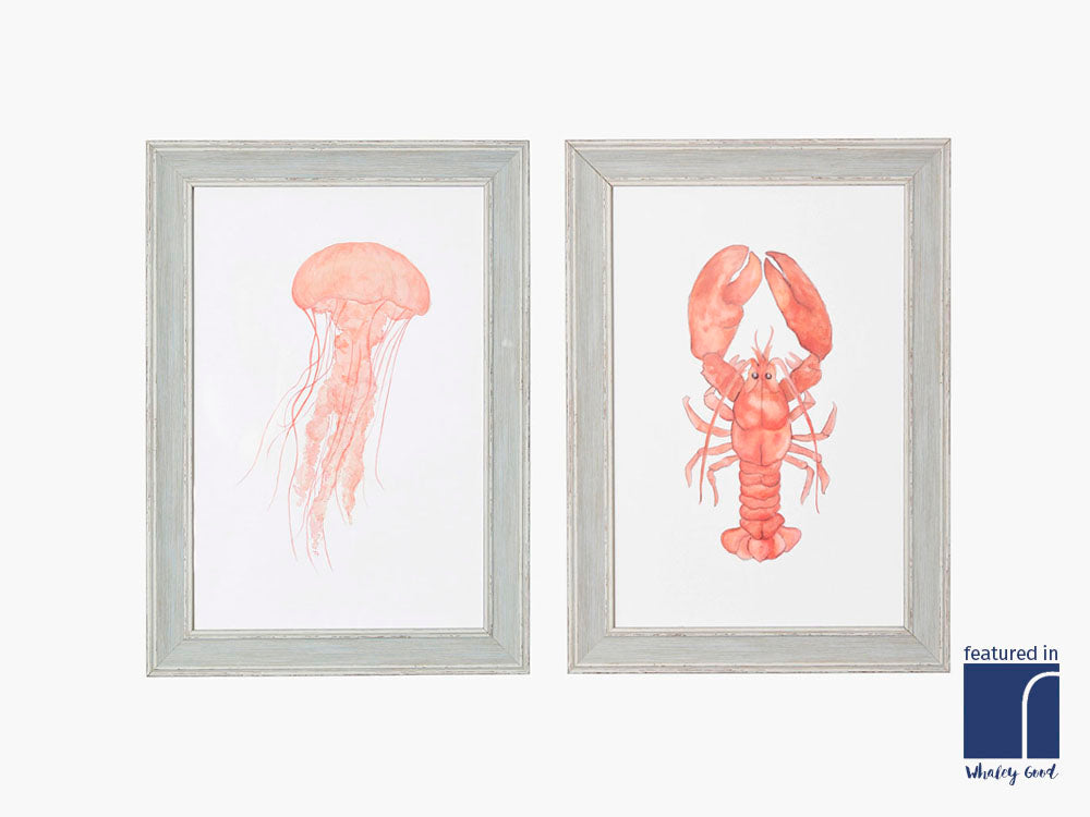 set of 2 framed underwater prints