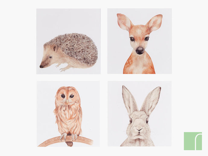 Set of 4 Woodland animal prints