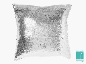 Silver sequinned seahorse cushion