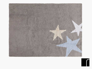 Grey Stars Washable Rug