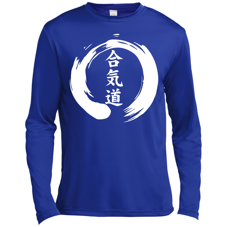Aikido Kanji Zen Enso (White) Long Sleeve Moisture Wicking - Martial Arts, Brazilian Jiujitsu, Karate, Muay Thai Shirts