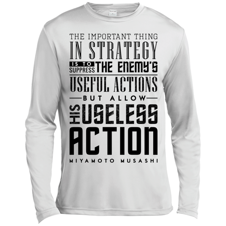 """Strategy"" Musashi Quote Long Sleeve Moisture Wicking - Martial Arts, Brazilian Jiujitsu, Karate, Muay Thai Shirts"