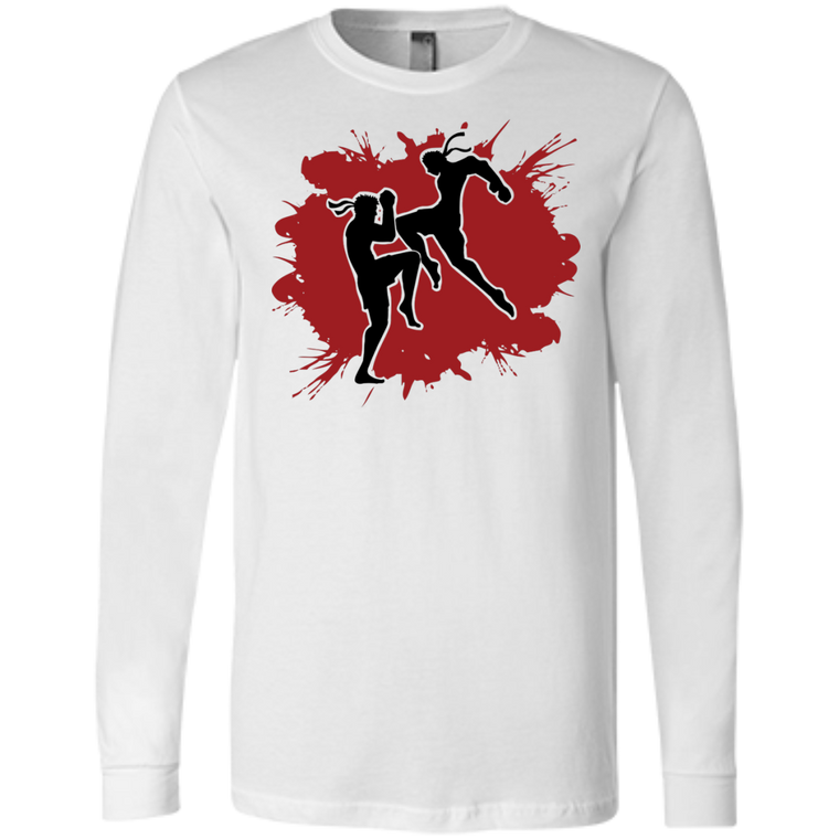 Muay Thai Flying Knee Long Sleeve - Martial Arts, Brazilian Jiujitsu, Karate, Muay Thai Shirts