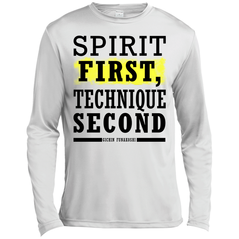"""Spirit First"" Long Sleeve Moisture Wicking - Martial Arts, Brazilian Jiujitsu, Karate, Muay Thai Shirts"