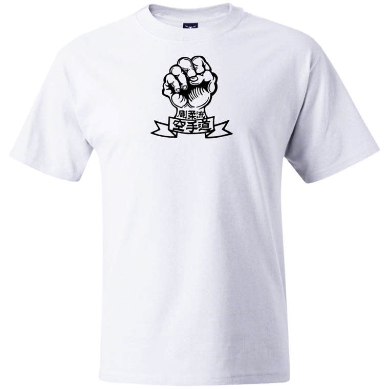 Goju Ryu Fist & Kanji (White/Black) Under Gi T-Shirt - Martial Arts, Brazilian Jiujitsu, Karate, Muay Thai Shirts