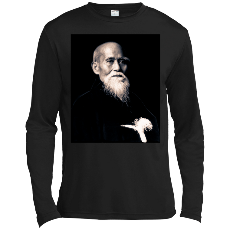 Ōsensei Morihei Ueshiba Long Sleeve Moisture Wicking - Martial Arts, Brazilian Jiujitsu, Karate, Muay Thai Shirts